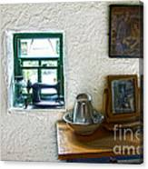 Window And Little Dressing Table In An Old Thatched Cottage Canvas Print