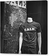 Window Display Sale In Black And White Photograph With Mannequin No.0129 Canvas Print