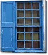 window in blue - British style window in a mediterranean blue Canvas Print