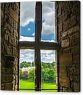 Window In Linlithgow Palace With View To A Beautiful Scottish Landscape Canvas Print
