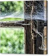 Window Lock And Spider's Web Canvas Print