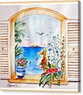 Window On Santorini Canvas Print