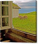 Window On Sod-covered Roof In Louisbourg Living History Museum-1744-ns Canvas Print