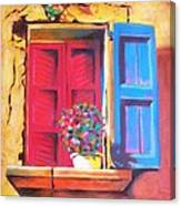 Window On The Rue In Roussillon France Canvas Print