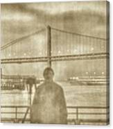 window self-portrait Embarcadero San Francisco Canvas Print