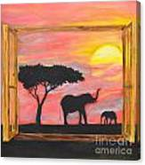 Window To African Sunrise With Elephants Into The Sun. Canvas Print