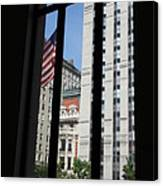 Window View With Flag Canvas Print