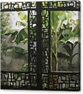 Window With Bamboo And Banana Plant Canvas Print