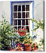 Window With Blue Trim Canvas Print