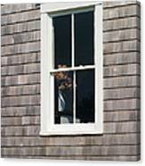 Window With Hydrangea On The Vineyard Canvas Print