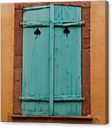 Window With Turqouise Shutters In Colmar France Canvas Print