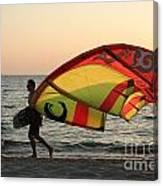 Windsurfer At Sunset Canvas Print