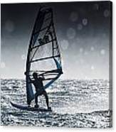 Windsurfing With Water Drops On Camera Canvas Print
