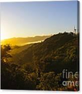 Windturbines At Sunrise Canvas Print