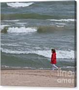 Windy Beach Walk Canvas Print