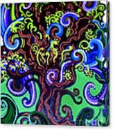 Windy Blue Green Tree Canvas Print