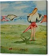 Windy Day Funny Watercolor Canvas Print