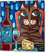 Wine And Cheese Cat Canvas Print