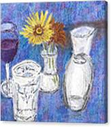 Wine And Flowers Canvas Print