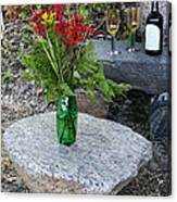 Wine And Red Flowers On The Rocks Canvas Print