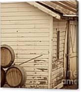 Wine Barrels And Rustic White Barn Canvas Print