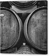 Wine Barrels Monochrome Canvas Print
