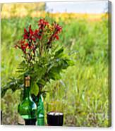 Wine Bottle And Two Glasses Canvas Print