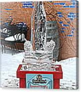 Wine Bottle Ice Sculpture Canvas Print