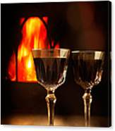 Wine By The Fire Canvas Print