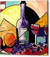 Wine Fruit And Cheese For Two Canvas Print