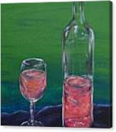 Wine Glass And Bottle Canvas Print