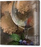Wine Glass And Flowers Canvas Print