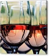 Wine Glasses Filled With Mount Hood Canvas Print
