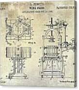 Wine Press Patent 1903 Canvas Print