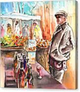 Wine Vendor In A Provence Market Canvas Print