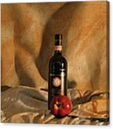 Wine With An Apple And Cheese Canvas Print