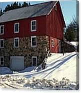 Winery Barn In Winter Canvas Print