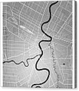 Winnipeg Street Map - Winnipeg Canada Road Map Art On Colored Ba Canvas Print