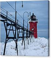 Winter At South Haven Lighthouse Canvas Print