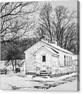 Winter At The Amish Schoolhouse - Bw Canvas Print