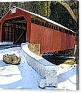 Winter At The Little Gap Covered Bridge Canvas Print