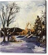 Winter At The River House Canvas Print
