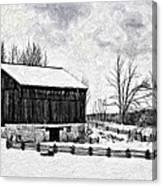 Winter Barn Impasto Version Canvas Print