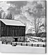 Winter Barn Monochrome Canvas Print