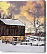 Winter Barn - Paint Canvas Print