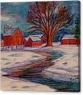 Winter Barn Scene Canvas Print