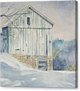 watercolor print Winter Barn painting for sale Canvas Print