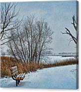 Winter Bench At Walnut Creek Lake Canvas Print