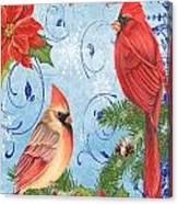 Winter Blue Cardinals-joy Card Canvas Print