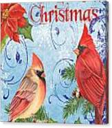 Winter Blue Cardinals-merry Christmas Card Canvas Print